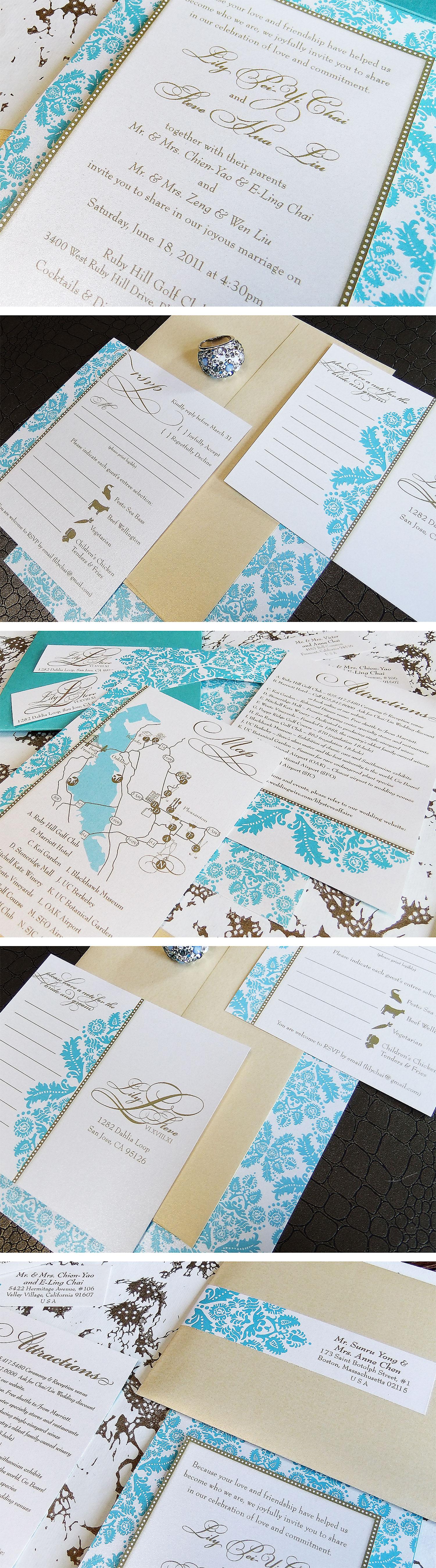 Elegant Damask Pocket Wedding Invitation By Emily Edson Design Https