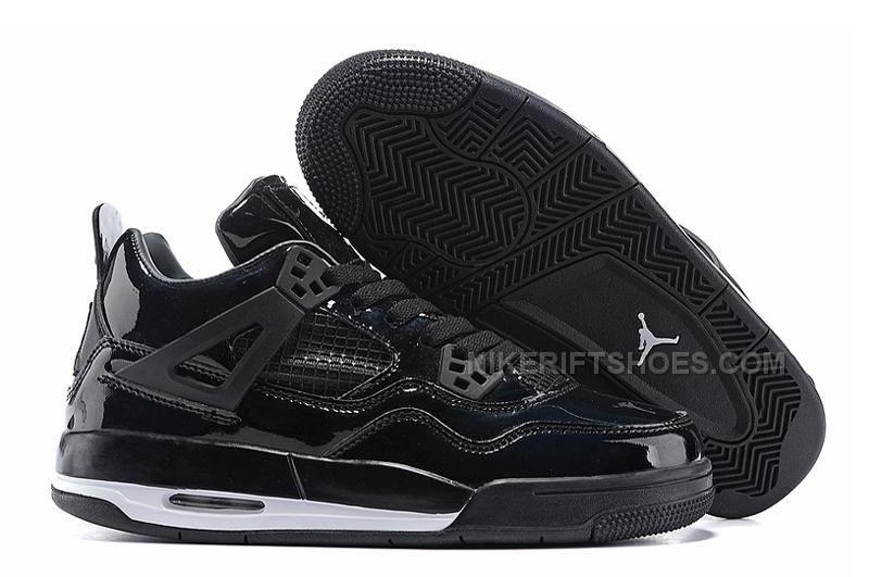 "size 40 33332 dca41 Air Jordan 4 Retro 11Lab4 ""Black Patent Leather"" All Black ..."