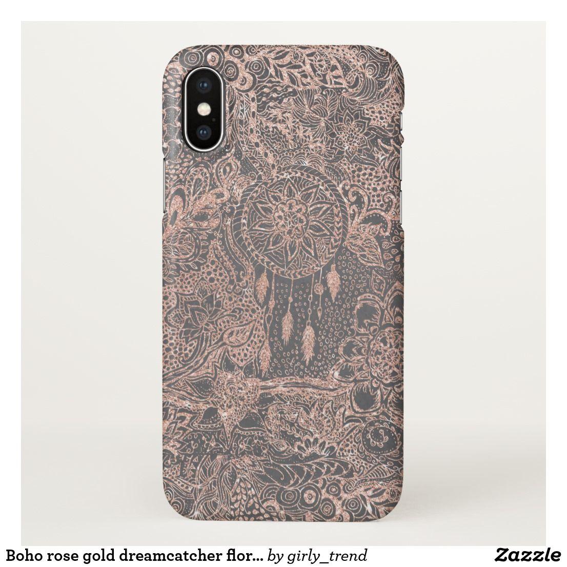 innovative design 2cd4a f5965 Boho rose gold dreamcatcher floral doodles on grey iPhone case ...