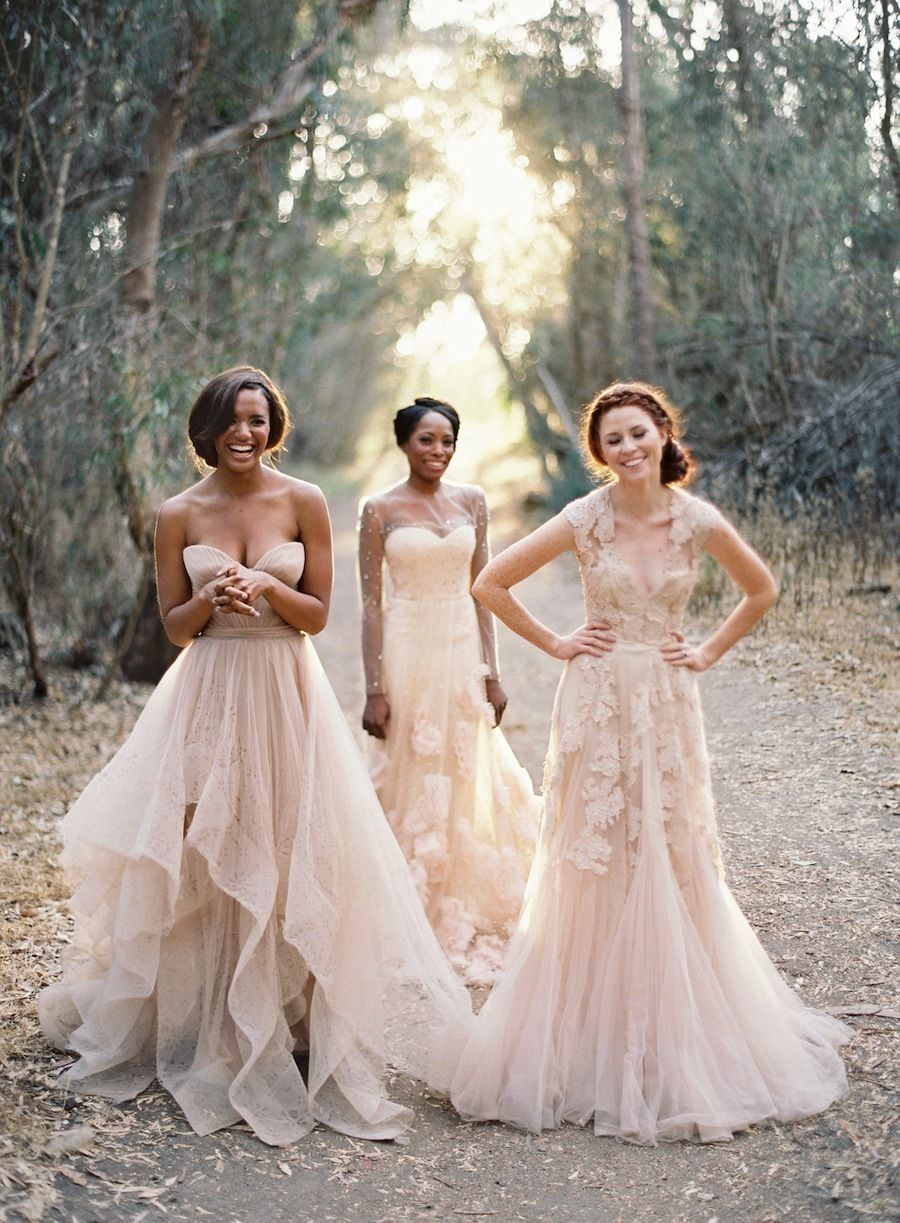 Love love love the dress on the left simple flowy for Flowy wedding dress with sleeves