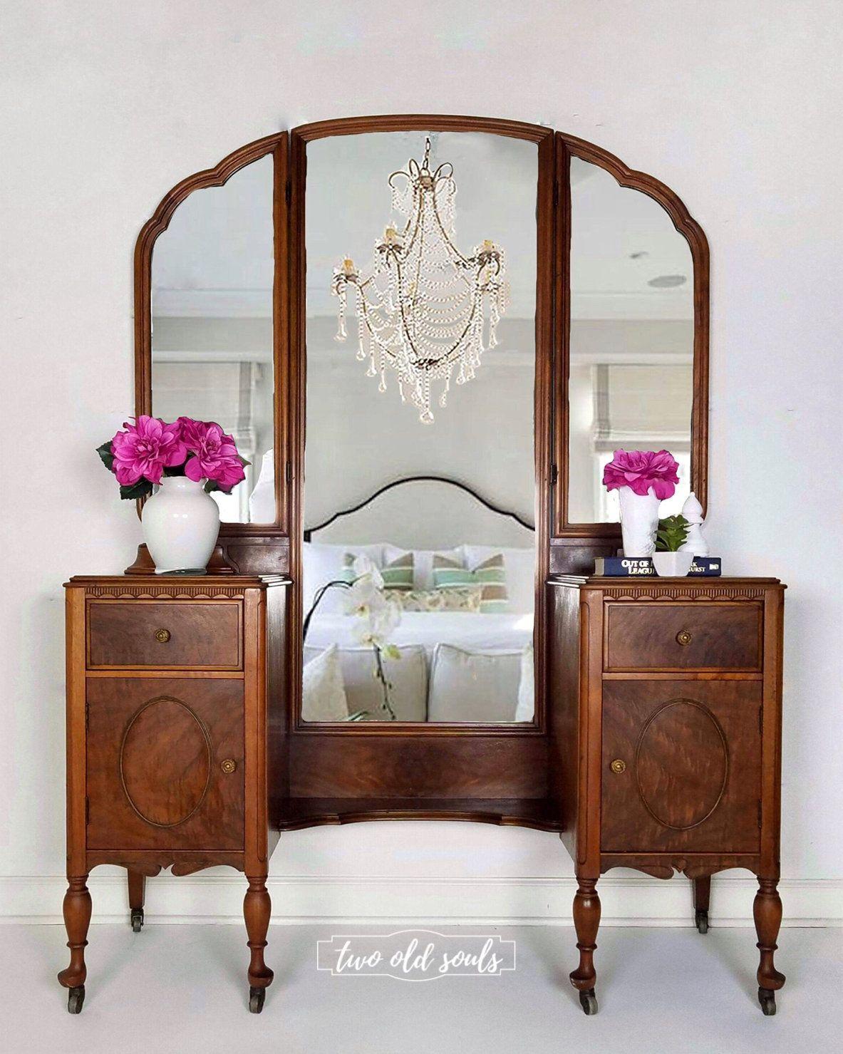 Sold 6 Drawer Vintage Vanity Antique Dressing Table Natural Wood Makeup Vanity Entryway Mirror With Sto Wood Makeup Vanity Dressing Table Vanity Furniture
