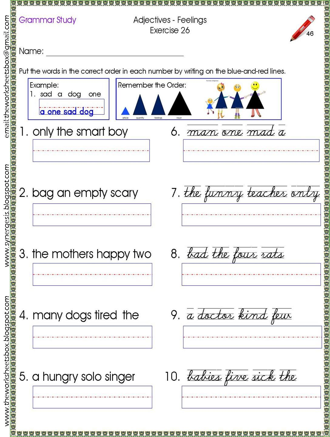 Sample worksheet for the Order of the Noun Family Study – Sample Worksheet