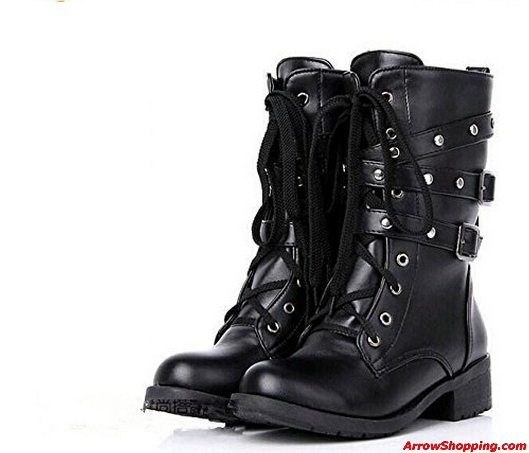 Punk Women's Lady Combat Leather Lace Up Military Ankle Boots Goth Shoes Sz  Hot