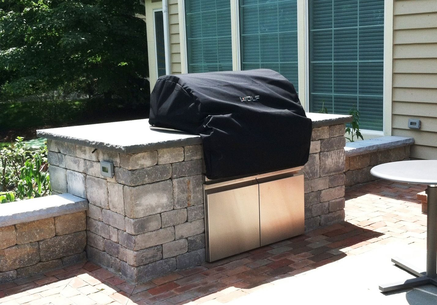Gas Grill Set In Brussels Wall Stone Surround With Bluestone Countertop Outdoor Kitchen Countertops Outdoor Kitchen Design Outdoor Kitchen