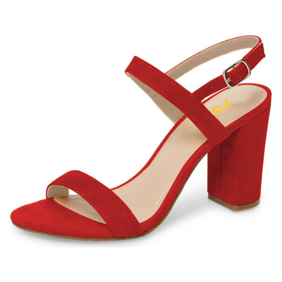 e618c9343df FSJ Women Casual Ankle Strap Sandals Open Toe Block Chunky High ...