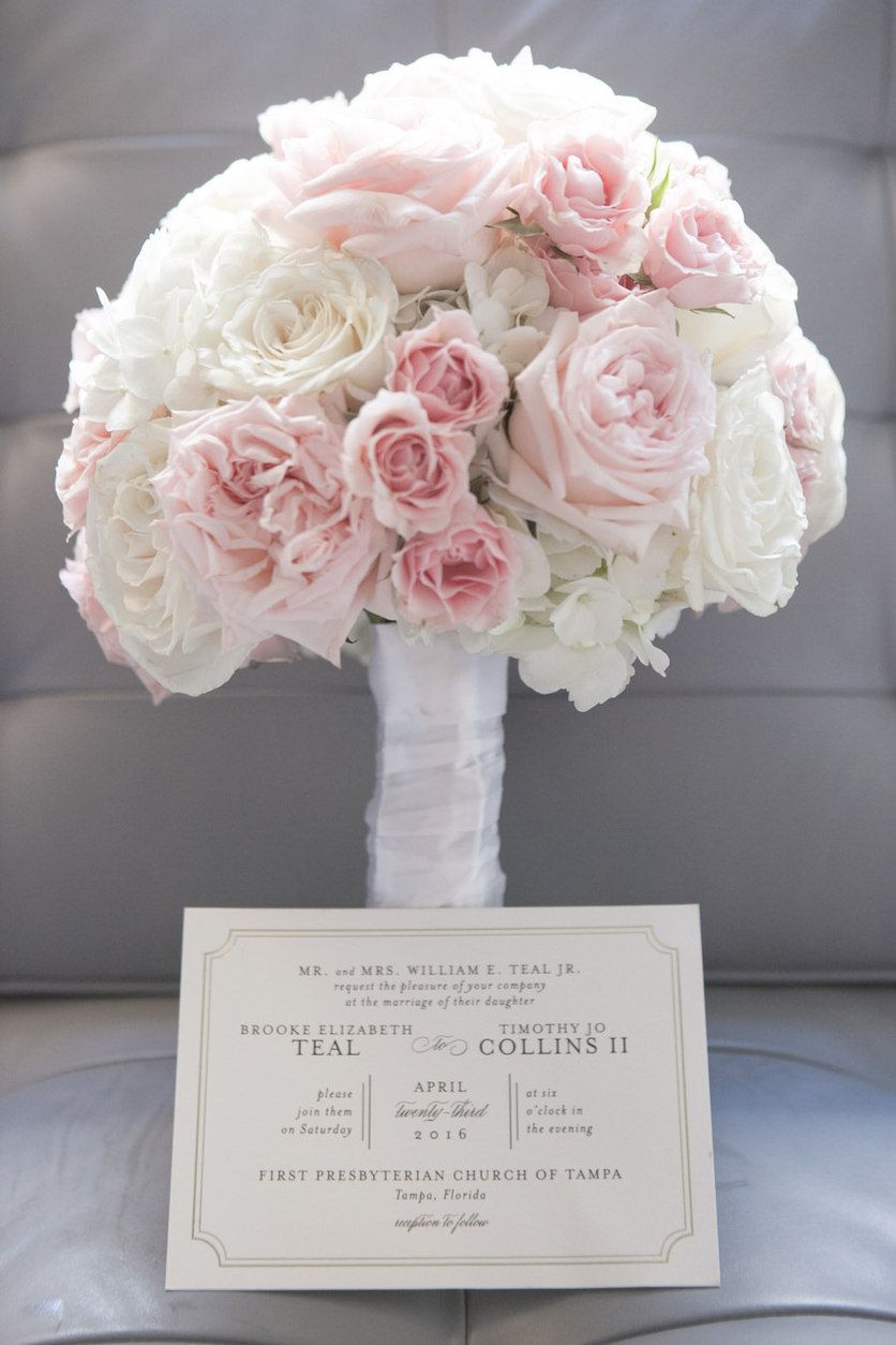 Blush And Ivory Rose Hydrangea Wedding Bouquet With Elegant Clic Gold Invitation Tampa Photographer Carrie Wildes Photography