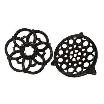 Set of 2 Cast Iron Round and Flower Trivets