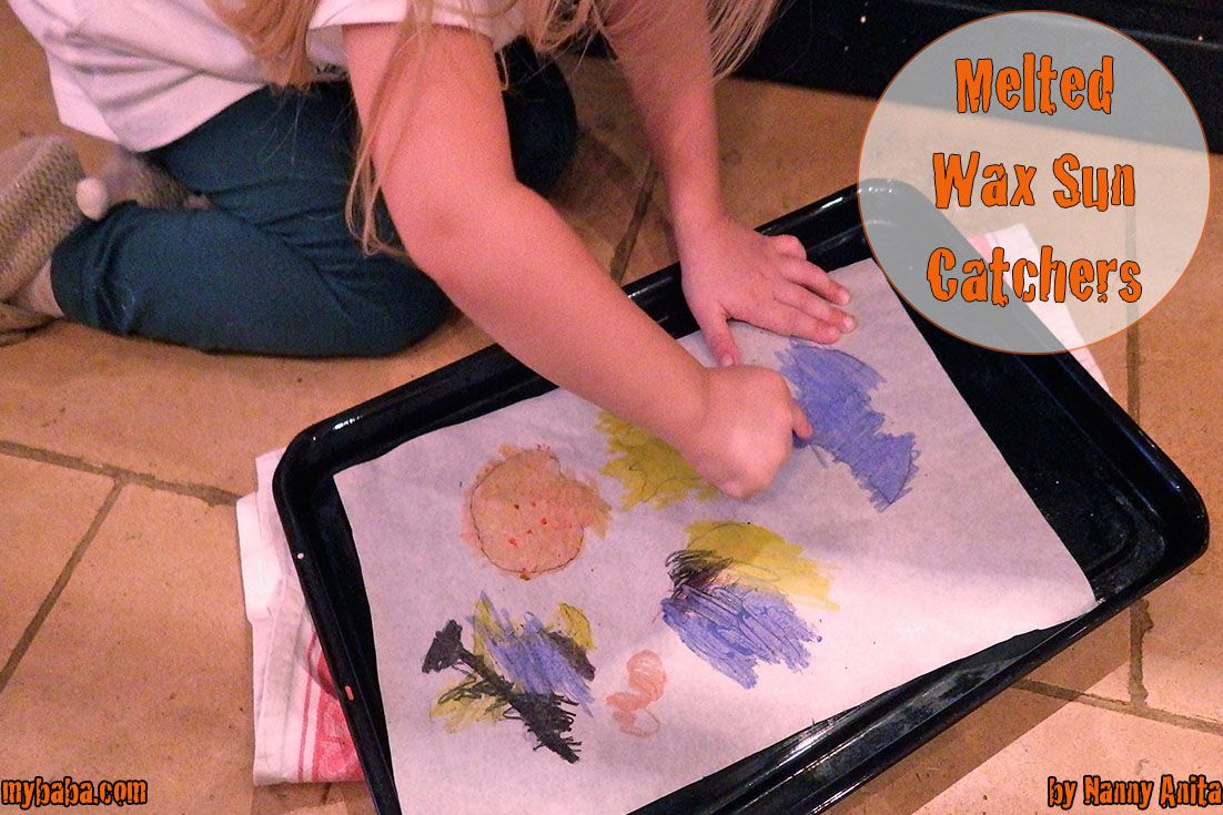 Make halloween sun catchers using melted crayons.