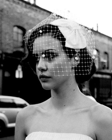 1950 S Style Wedding Hair: 1950s Bow Hat With Detachable Birdcage Veil With Dots