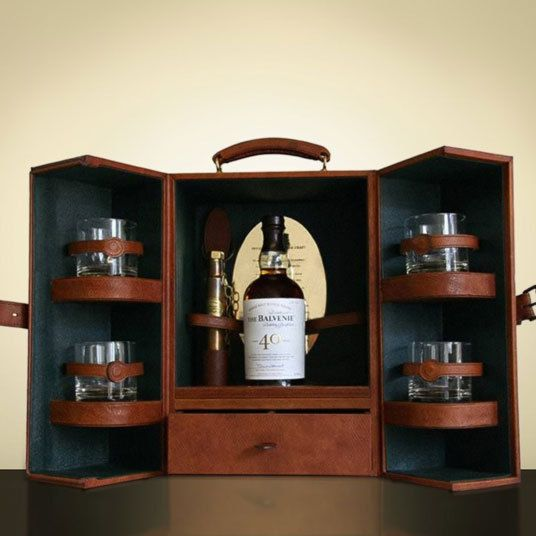 British shoe maker George Cleverley and The Balvenie distillery collaborated to produce this exclusive 40-year-old whisky, which comes in a handcrafted box made using 1786 Russian reindeer leather. This whisky costs £20,000, excluding VAT. The Balvenie distillery is based in Dufftown, Scotland.