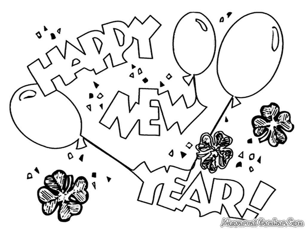 Instructive Free Happy New Year Coloring Pages Merry
