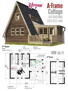 A Frame Cottage Plans Megan In 2020 Small House Floor Plans