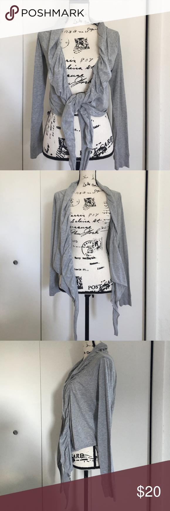 ATHLETA shrug cardigan tie up gray sweater | Shrug cardigan ...