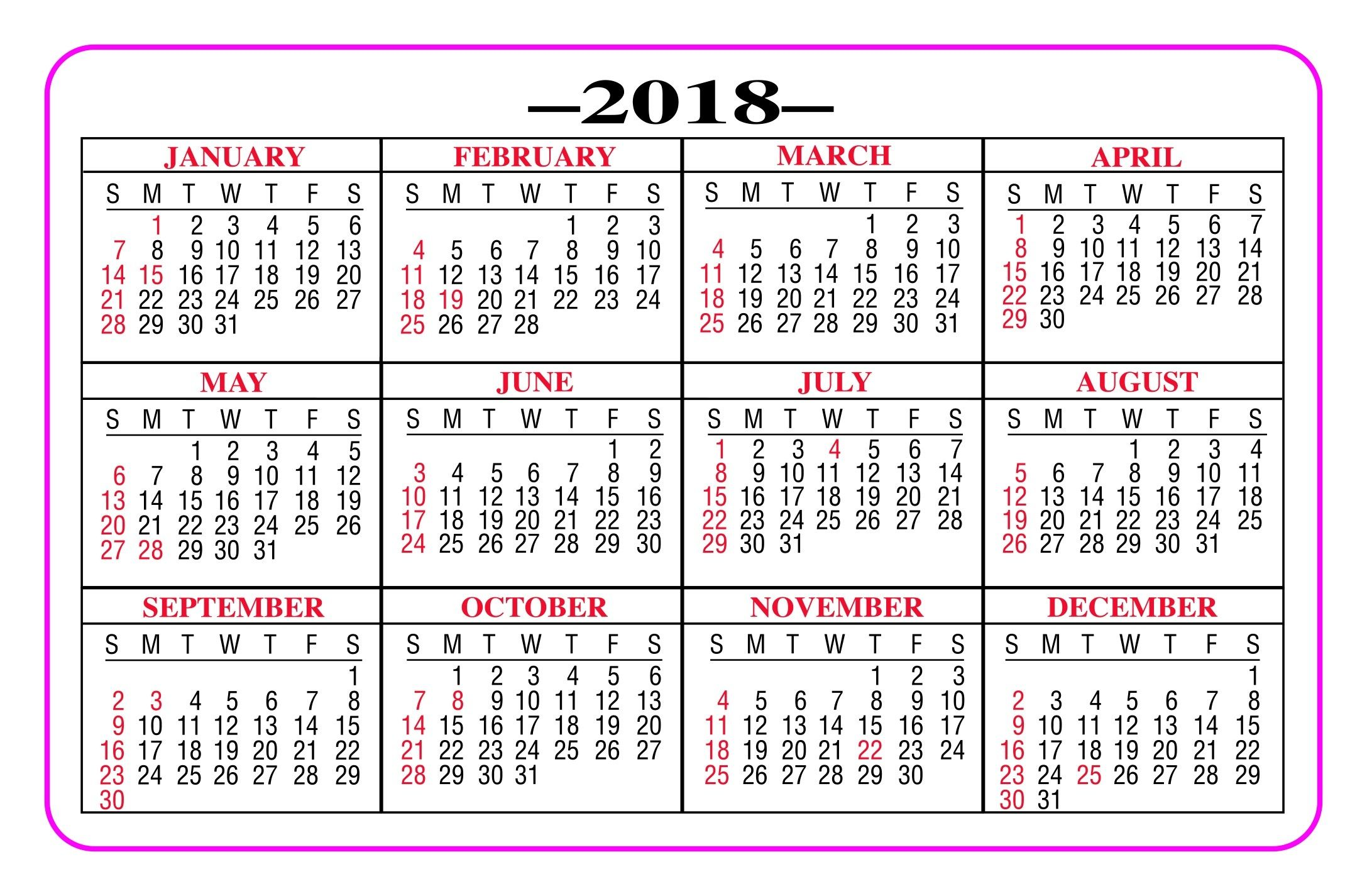 picture regarding Printable Pocket Calendar named Printable Pocket Calendar 2018 - Comprehensive 12 months