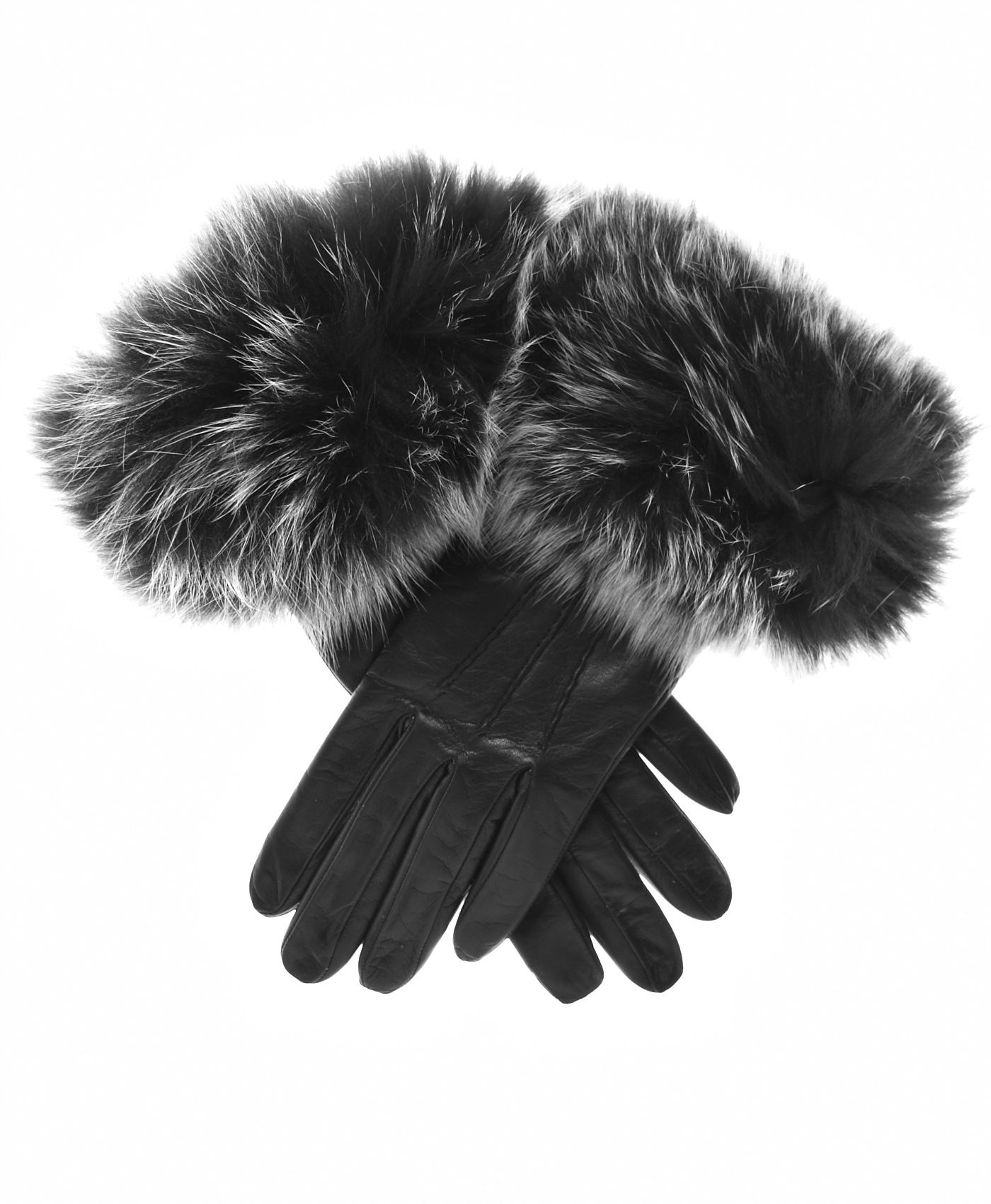 Womens lined leather gloves - Women S Italian Fox Fur Cuff Cashmere Lined Leather Gloves