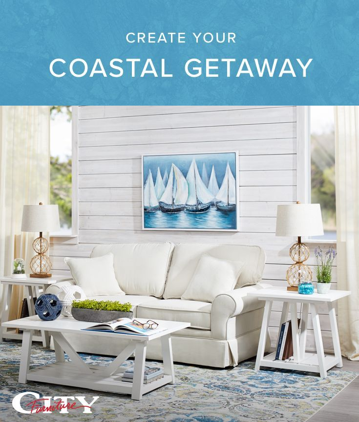 Enjoy vacation vibes every day with a coastal-inspired living room