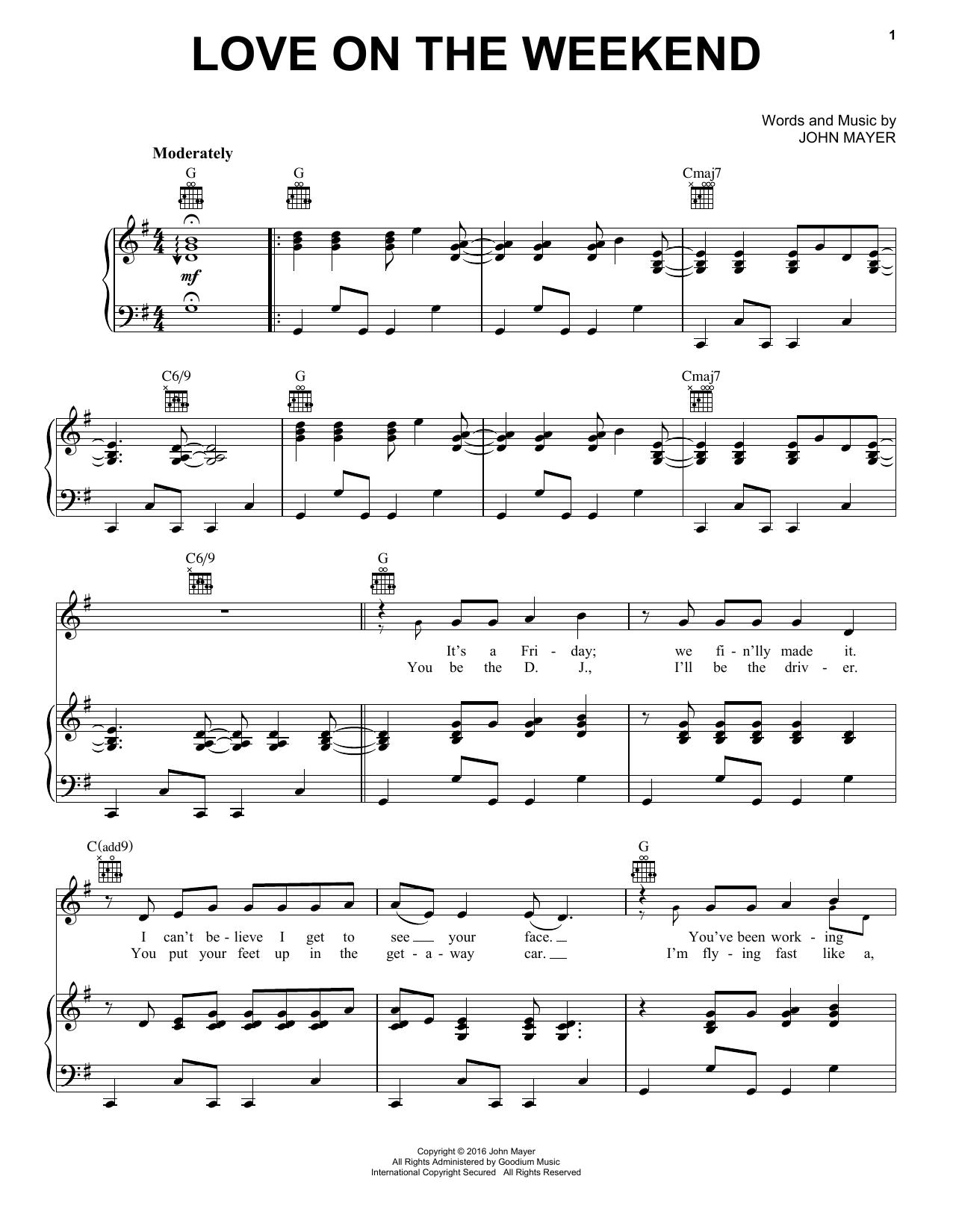 Love On The Weekend Sheet Music John Mayer Piano Vocal Guitar Right Hand Melody John Mayer Lyrics John Mayer Digital Sheet Music