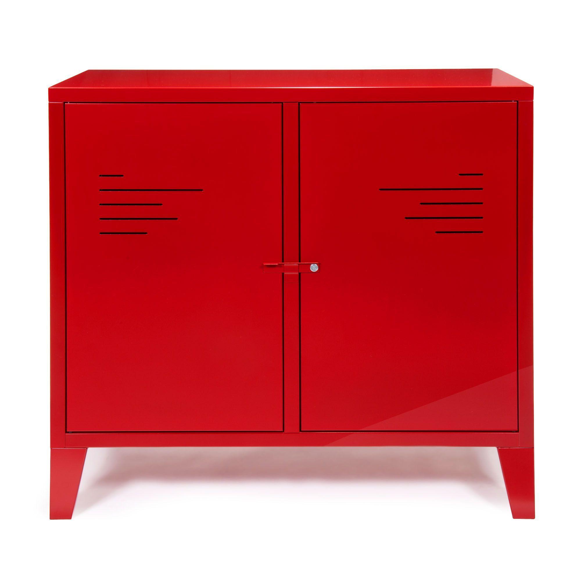 177e2c6ad22f45 Commode 2 portes rouge en métal - Lofter - Alinea Meuble Chambre,  Décoration Chambre,