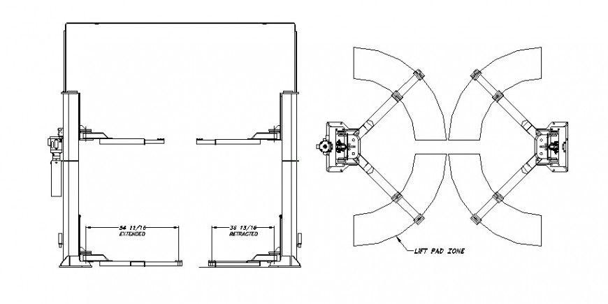 Line Drawing Of Mechanical Elevator Unit Block Layout File