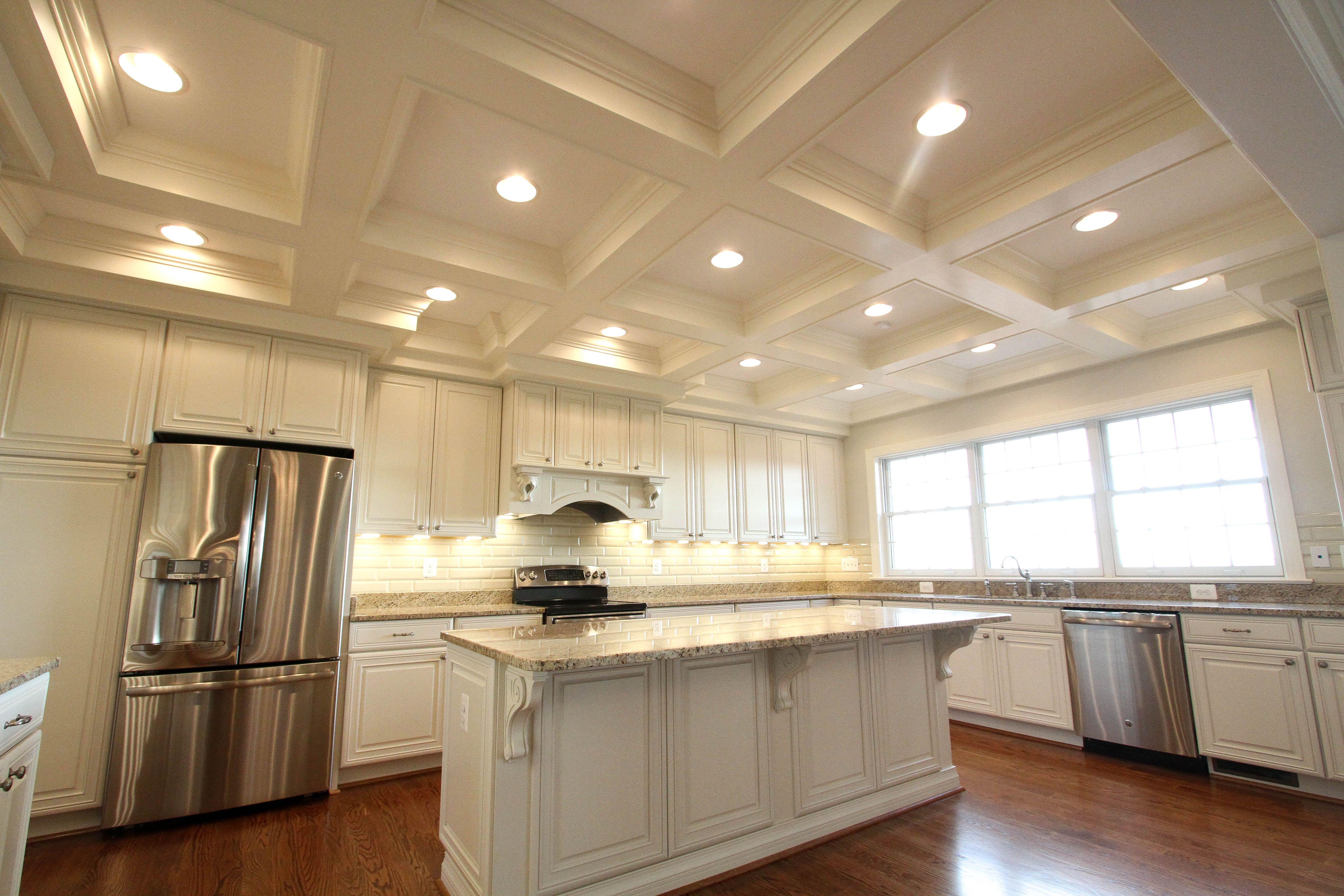 Kitchen, Gourmet Kitchen, Stainless Steel, Custom Coffered Ceiling, Subway Tile, Hardwood Flooring, Granite Countertop, Custom Built by Foreman Builders, Virginia