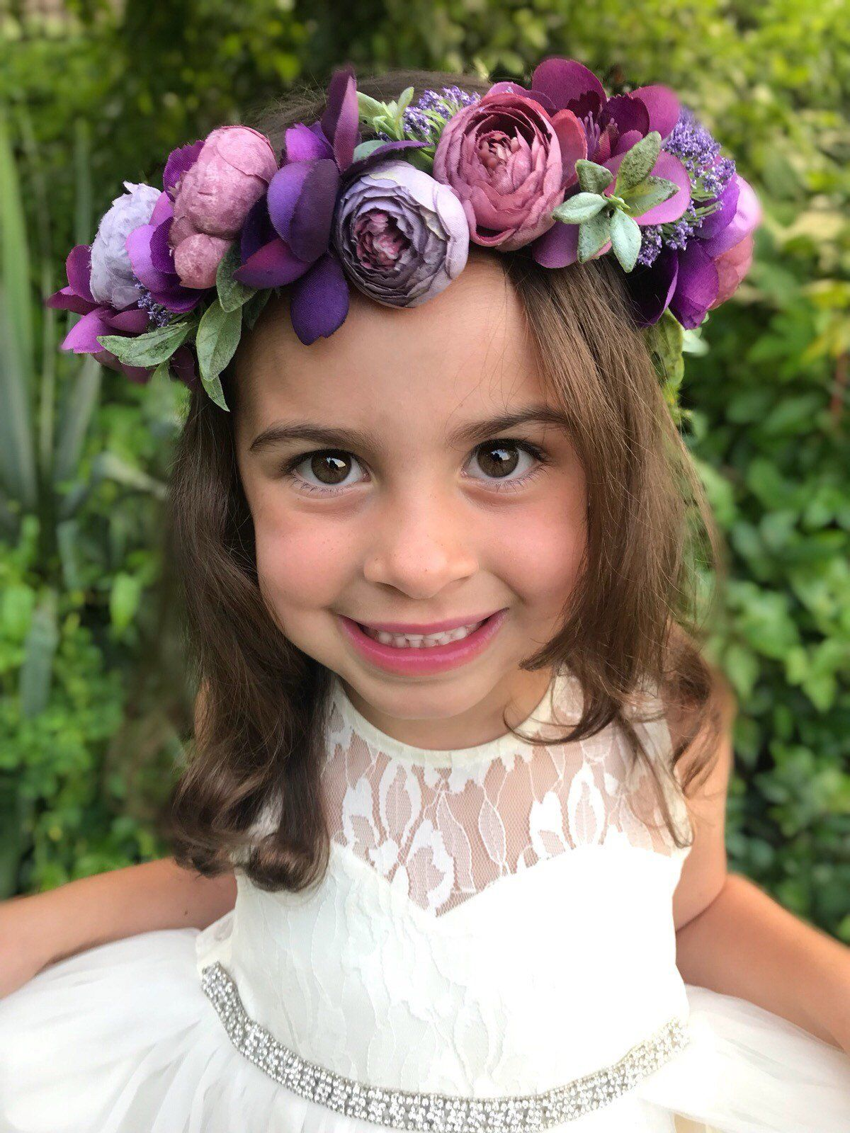 Purple Flower Crown Flower Girl Hair Wedding Floral Crown