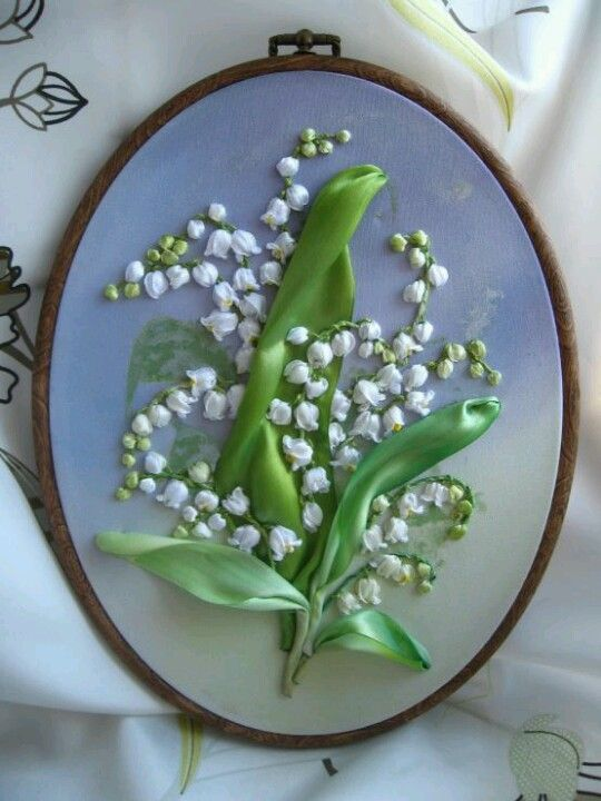 Lily Of The Valley Embroidery : valley, embroidery, Lilly, Valley, Ribbon, Embroidery, Tutorial,