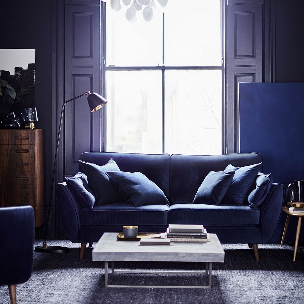 The Dfs Zinc Sofa Has Had A Stunning Velvet Makeover Uh Oh Ideal Home Blue Sofas Living Room Blue Sofa Living Gold Living Room Decor