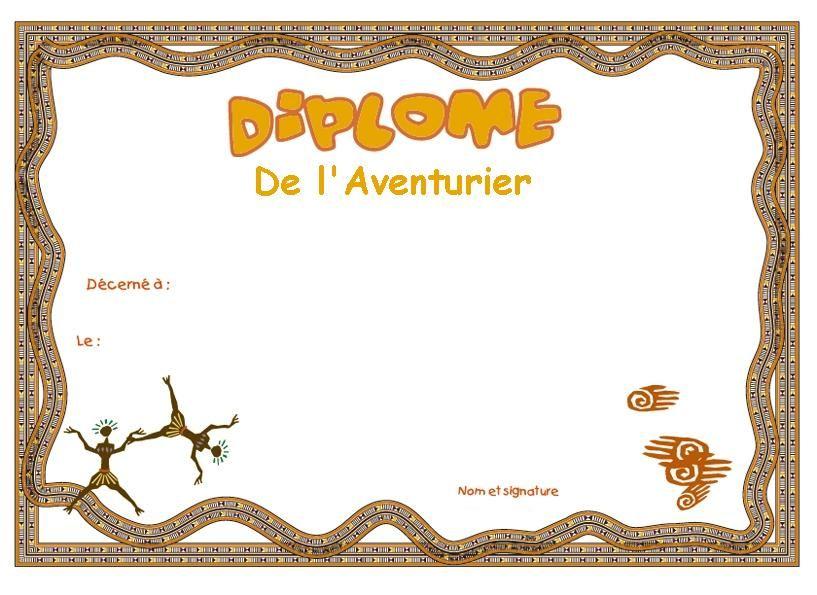 Diplome maternelle pinterest diplome aventurier et - Attestation de porte fort a imprimer ...