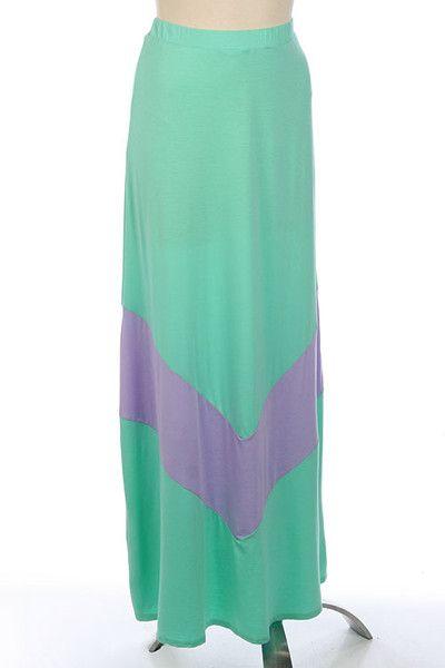 Mint Colorblock Chevron Stripe Maxi Skirt at stylesaysshop.com