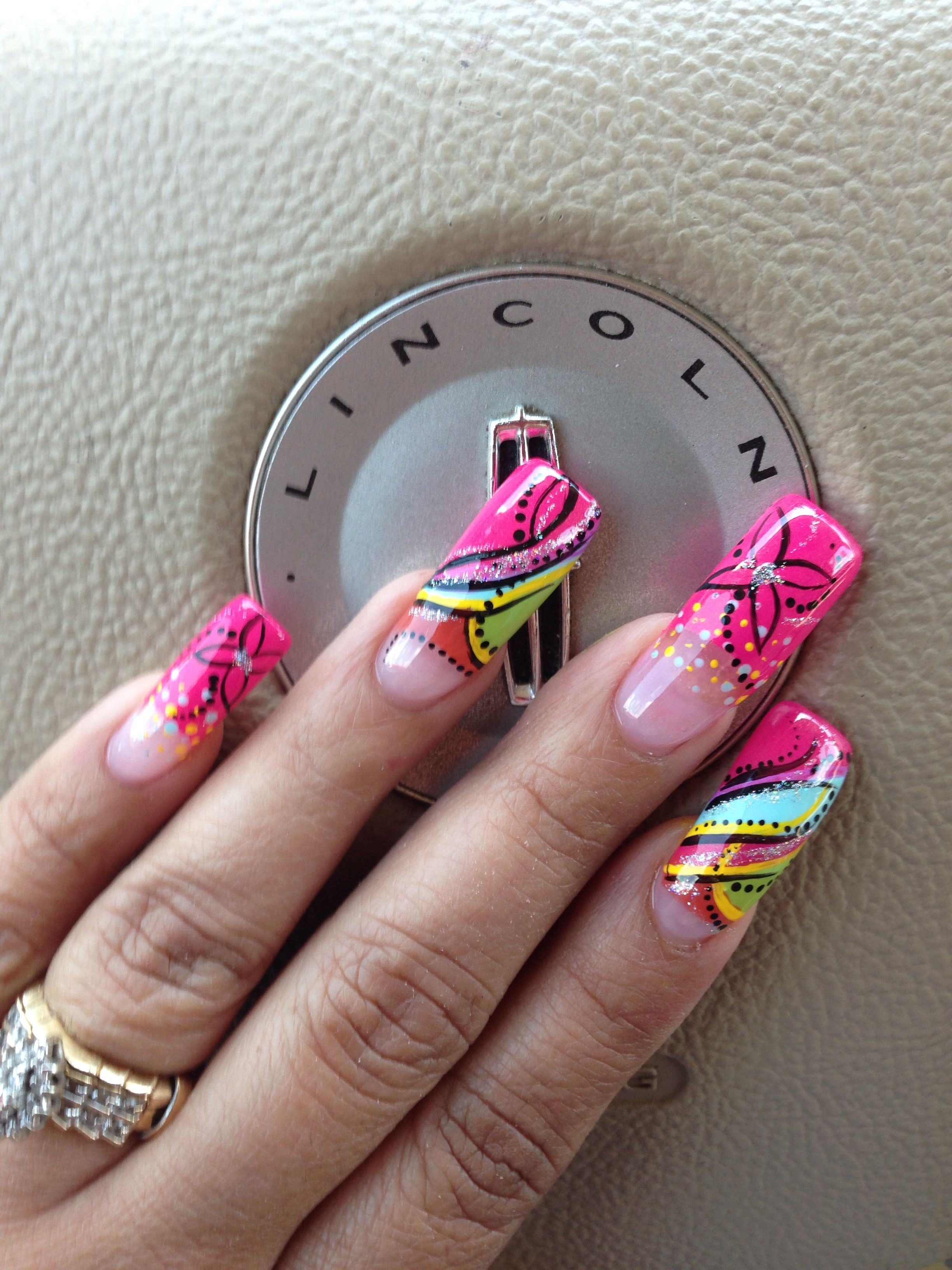 Long nail design by best nail tech Zaira | Nail designs | Pinterest