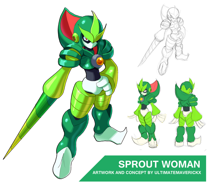 Megaman 11 Sprout Woman Character Design Game Character Design Mega Man Art