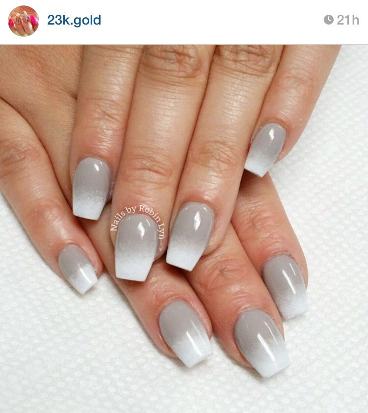 White and gray ombré acrylic | Black ombre nails, Nails ...