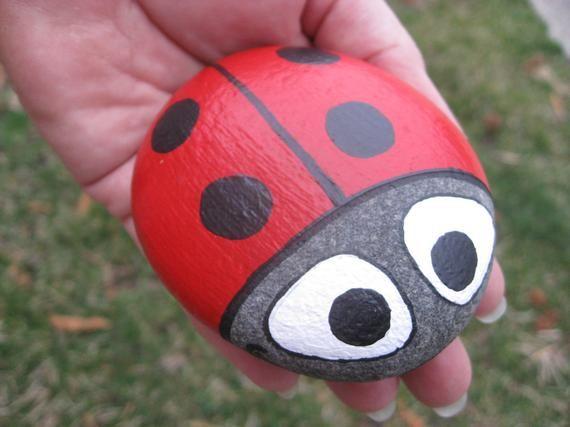 Ladybug Stone-handbemalt Basalt-Gartenstein oder Dekor des | Etsy
