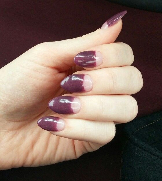 Purple nails, Half moon manicure, fall nail color ideas, SNS Powder ...