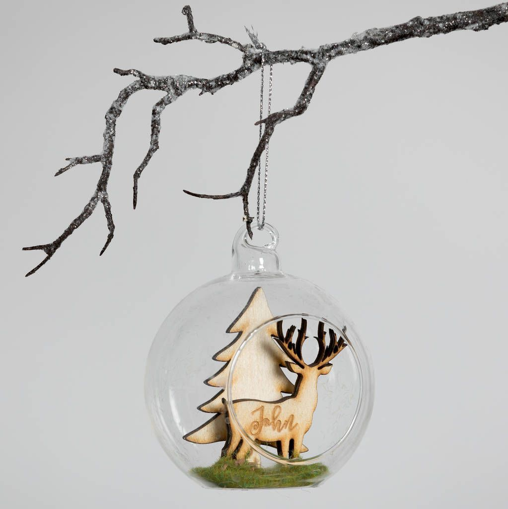 Personalised Woodland Stag Christmas Bauble | Christmas baubles, Christmas bulbs, Christmas ...
