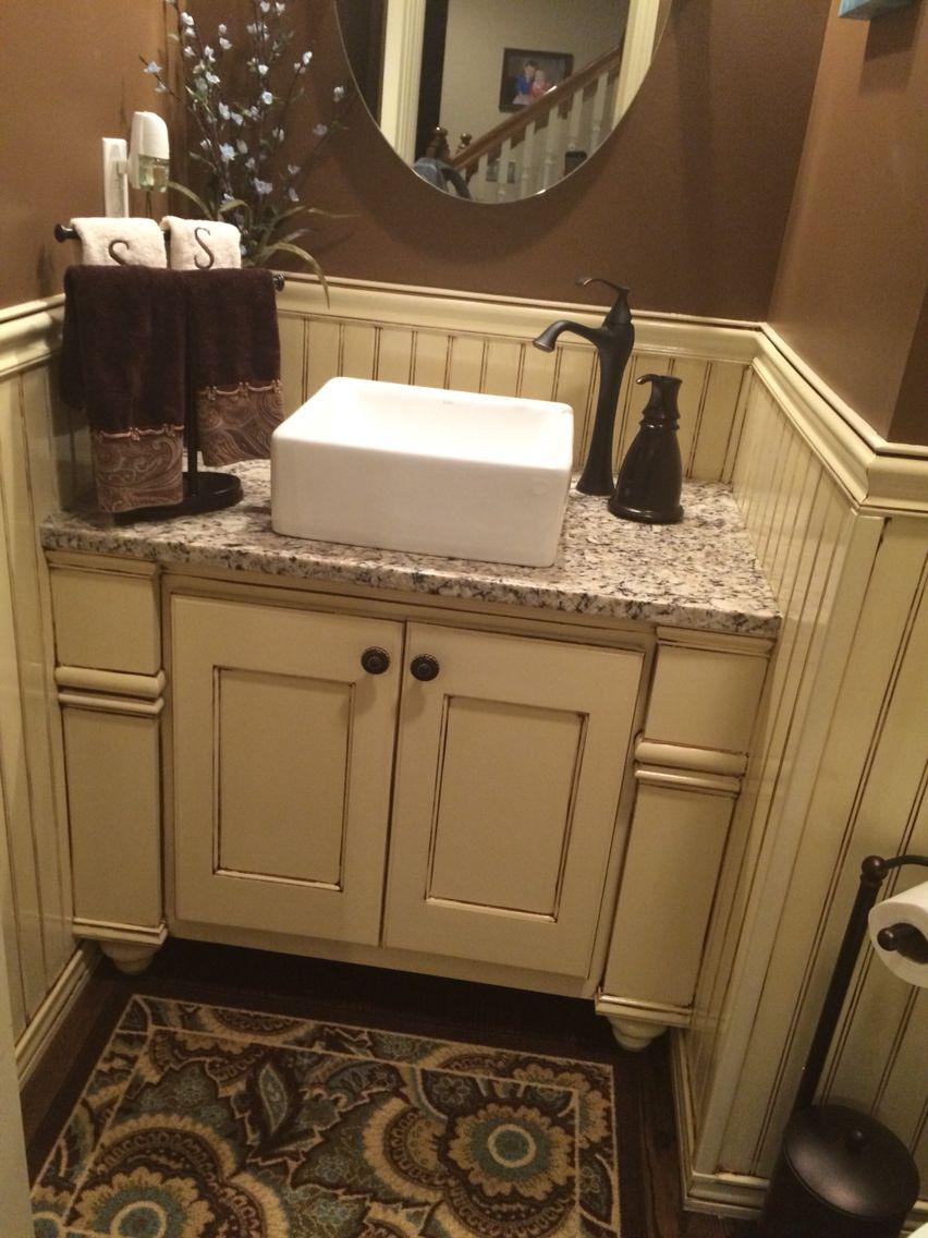 Nice Glazed Wainscoting By Third Degree Furniture, Olathe KS. #glaze #bathroom  #vesselsink