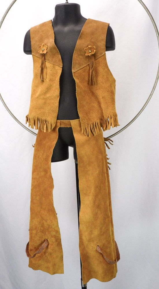 004cc029 Vintage 70s Children's COWBOY Outfit Vest & Fringe Chaps Pants SUEDE Leather  M #BloomBrothers #CompleteOutfit