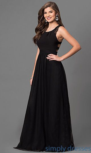 Long Black Prom Dress With Lace And Back Cut Outs Clothes