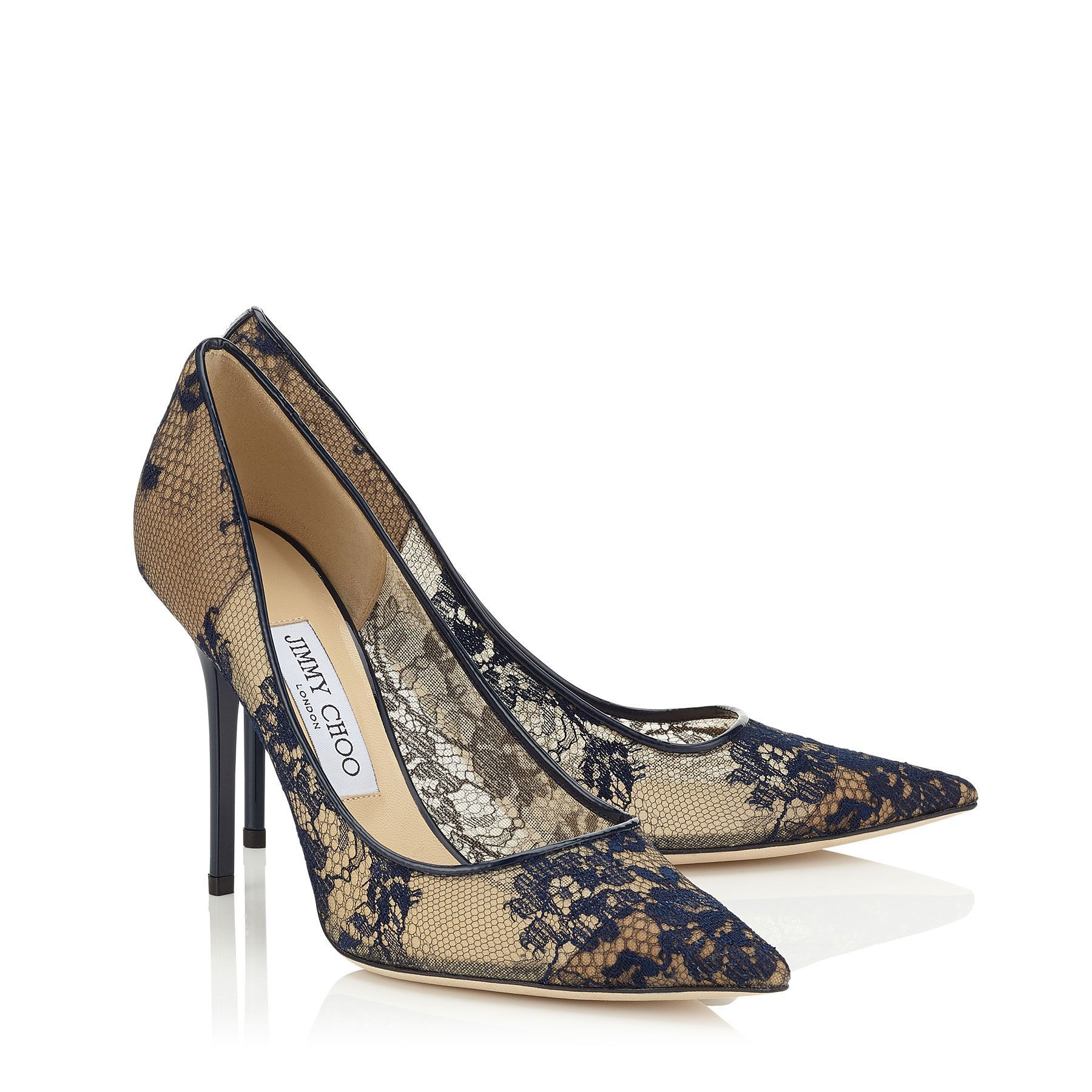 2fa085874f0 Navy Lace Pointy Toe Pumps | Abel | Pre Fall 15 | JIMMY CHOO Shoes ...