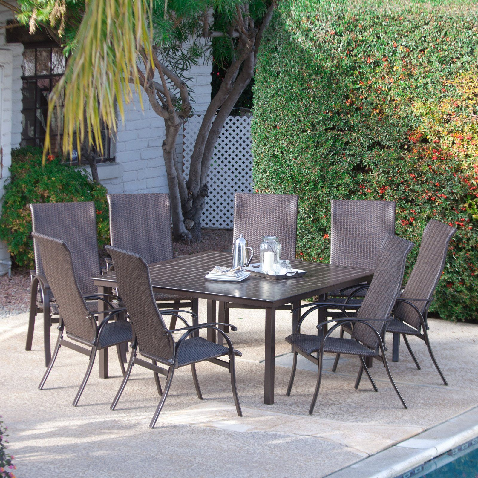 Coral Coast Bellagio Wicker Square Patio Dining Set   Seats 8