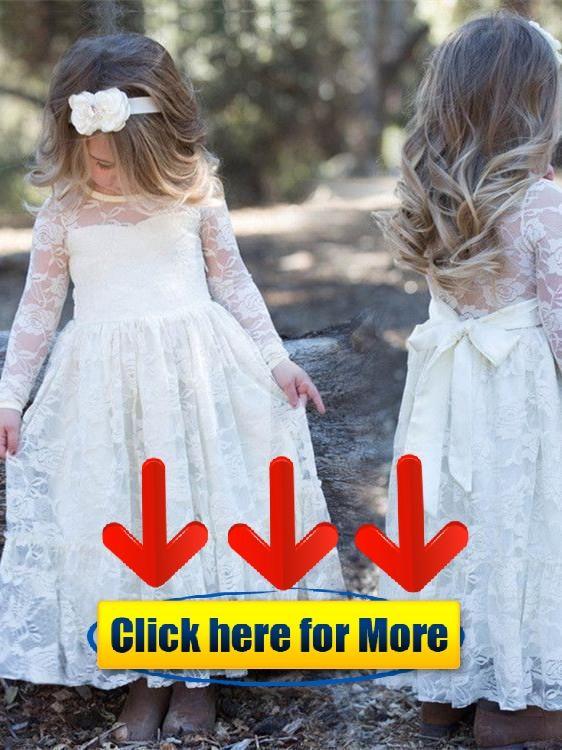 80e6896fcec Elegant Lace Jewel Neckline Long Sleeves A-line Flower Girl Dresses FD034  👈  flower