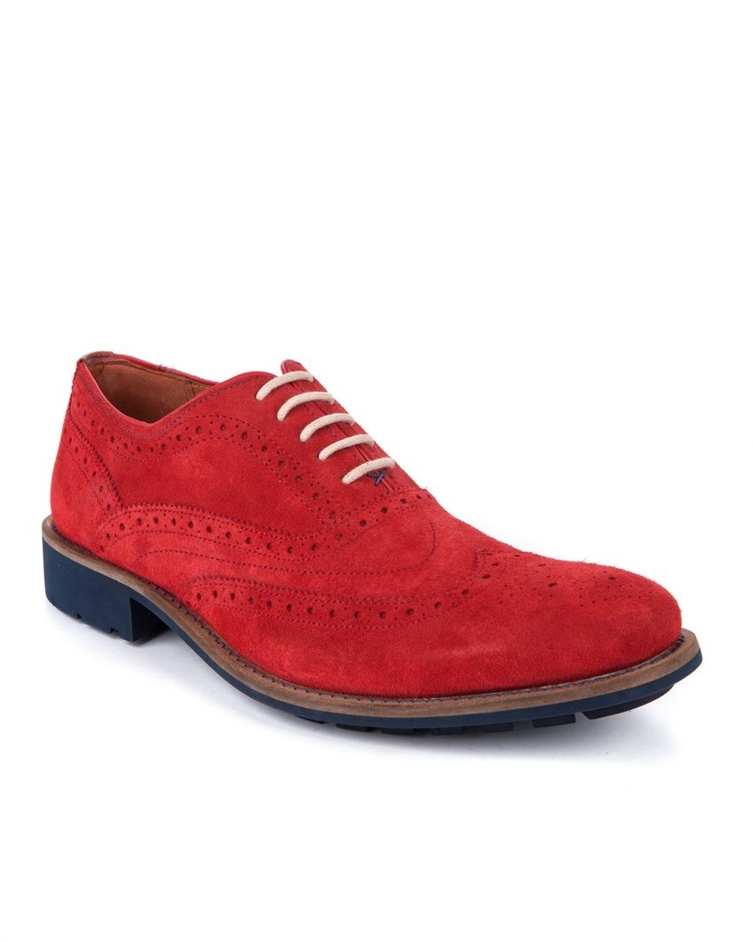 Chunky red suede brogues. | Mens