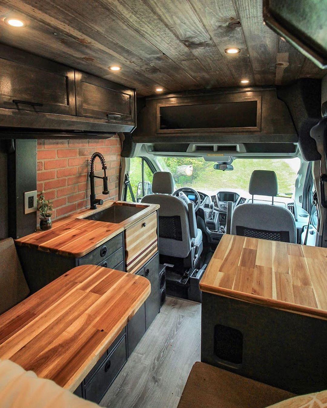 Cozy Log Cabin On Instagram Thoughts On A Cabin Van Yay Or Nay Gorgeus By Freedomvans Please Fol Van Life Campervan Interior Van Living