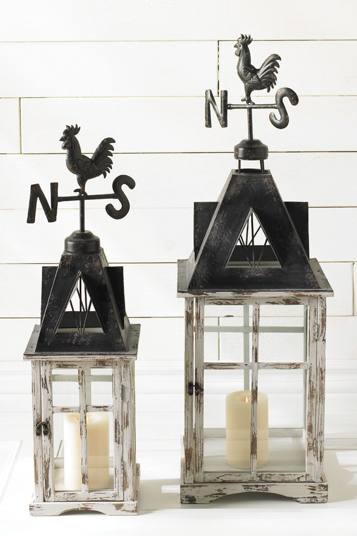Rooster Tin and Wood Weather Vane Lantern | Home Love | Pinterest ...