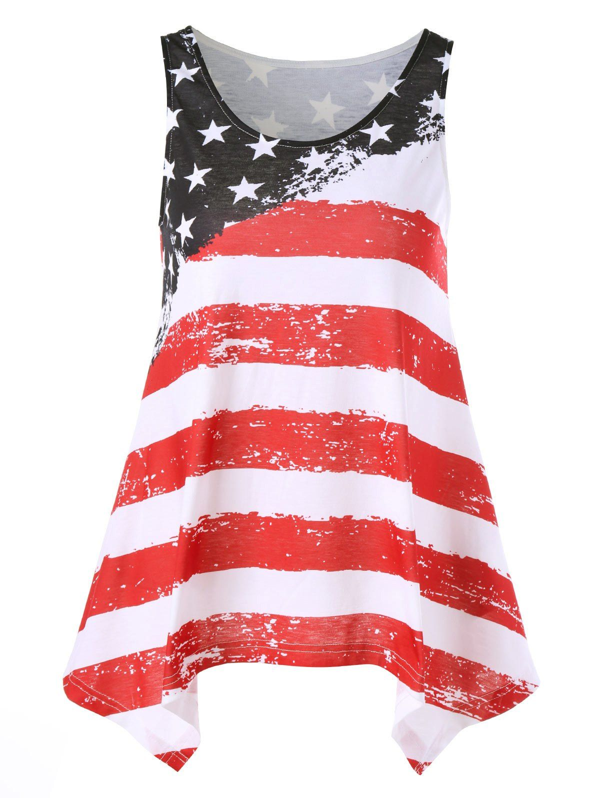 Distressed American Flag Tank Top American Flag Tank Top Casual Tank Tops Stripes Fashion