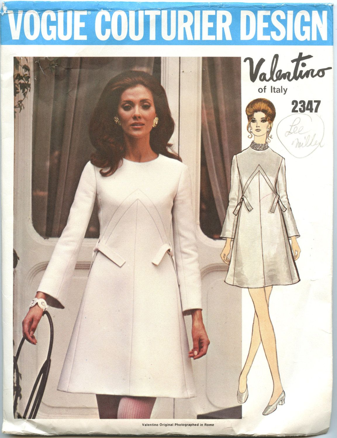 1960s Vogue Couturier 2347 by Valentino of Italy A Line Dress ...