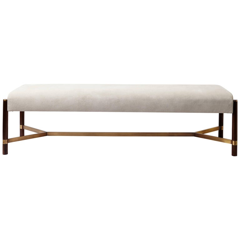 Raj Contemporary Imbuia Wood And Brass Bench For Sale In 2020 Contemporary Bench Modern Wood Bench Upholstered Bench