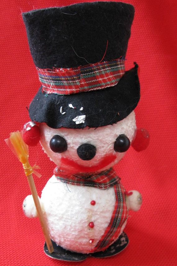 mid century snowman made in japan christmas by rivertownvintage
