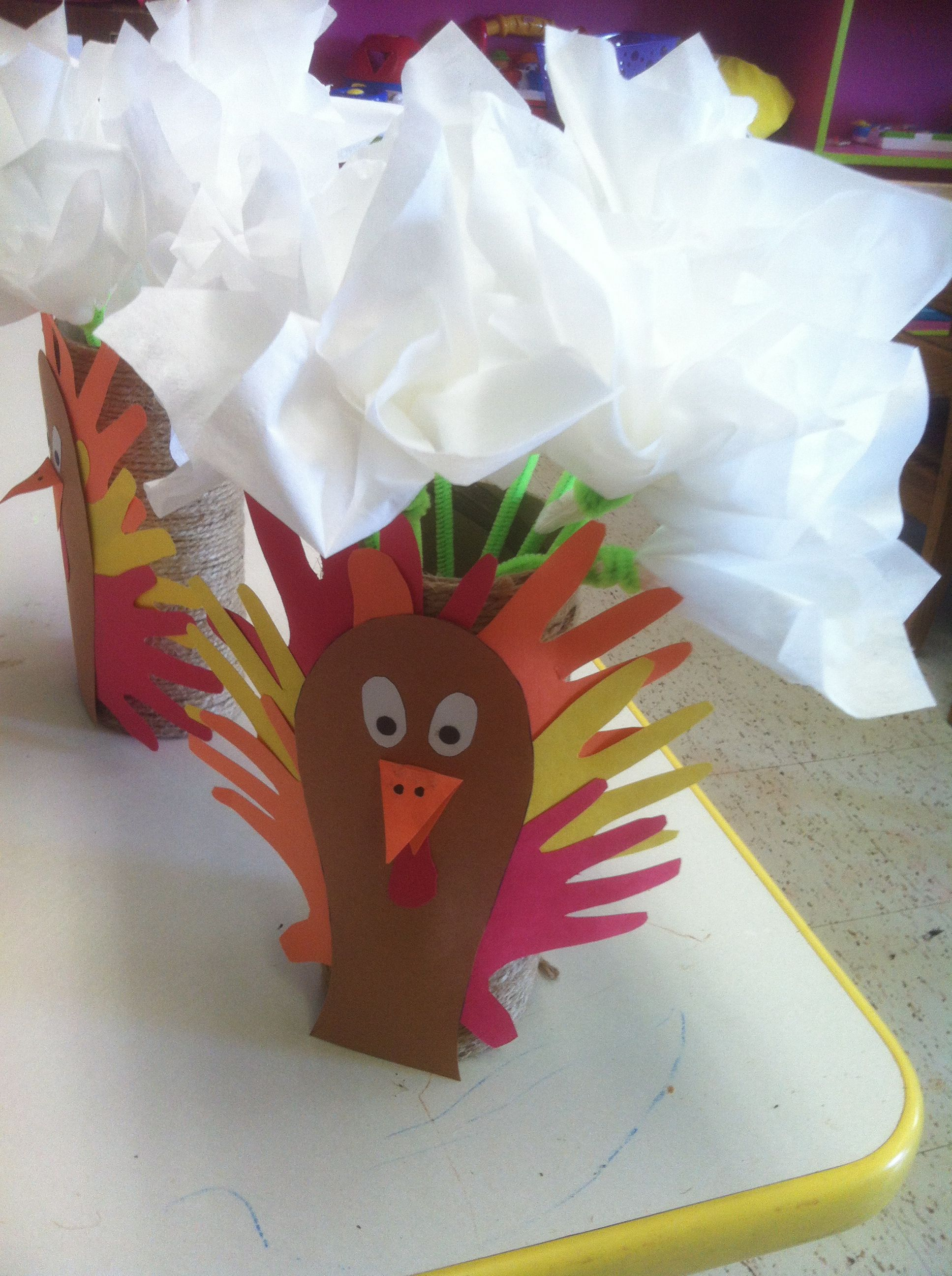 Tissue Paper Flowers In Cardboard Tube Vase With Turkey With