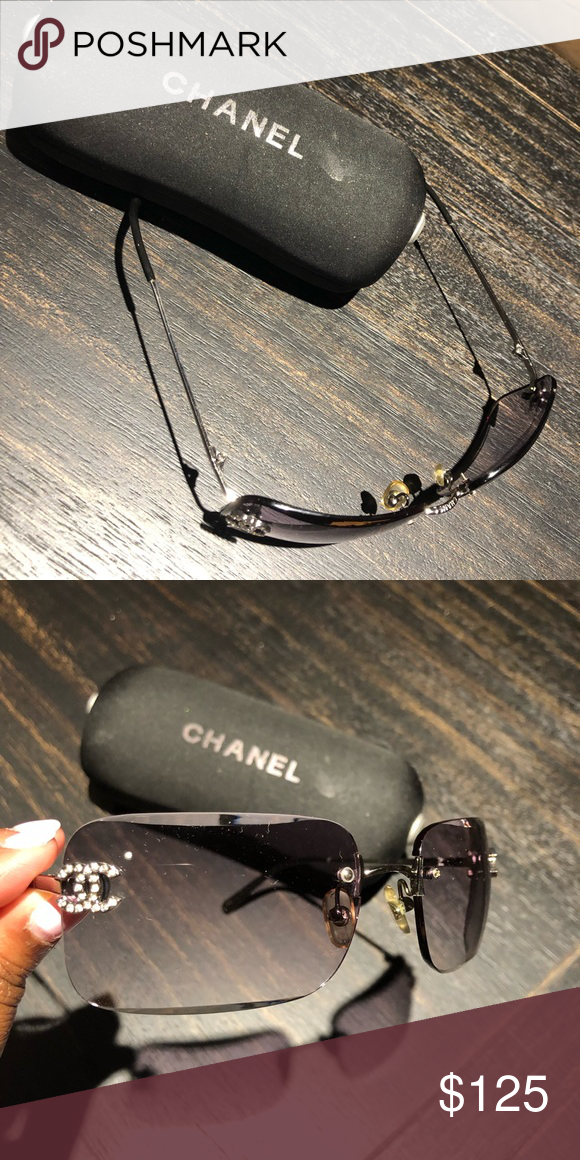 c73494d6a8 Chanel sunglasses Chanel black rimless sunglasses w case CHANEL Accessories  Sunglasses